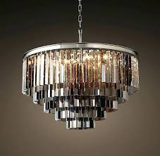 odeon glass chandelier chandeliers smoke glass fringe 5 ring round chandelier polished nickel home improvement reboot
