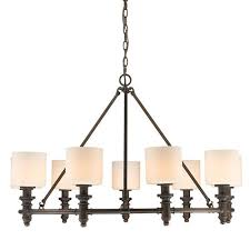 golden lighting beckford rubbed bronze nine light chandelier with opal glass
