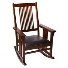 wooden rocking chair. Gift Mark Mission Style Wooden Rocking Chair With Upholstered Seat