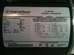 need help marathon electric ac motor wiring motor label