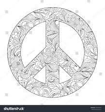 Hand Drawn Floral Peace Symbol On Stock Vector 748634830