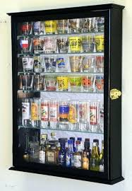 shot glass display shelves large mirror backed and 7 glasses case holder cabinet wall shelf