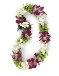 fresh hawaiian lei colorful mixed double orchid lei