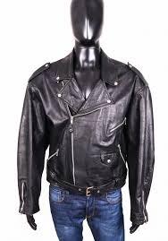 details about vera pelle mens leather jacket ramones black xl