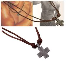 brand new simple cross pendant real leather long necklace for men uk er