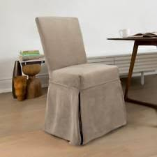 faux suede dining chair covers. coverworks sienna suede relaxed fit long dining chair slipcover (set of 4) faux covers