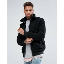 boohooman boohooman borg er jacket in black black zip opening regular fit true to size