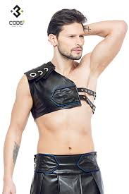 men eco leather gladiator harness with blue piping