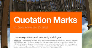 Quotation Marks | Smore Newsletters For Education