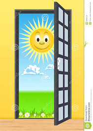 Door Toward Nature Vector Illustration Stock Vector Illustration