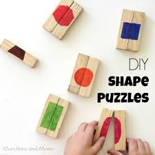 diy shape puzzles upcycle blocks to make these simple puzzles for preschoolers