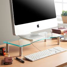 best desktop for home office. Desks | Height Adjustable Screen Riser For Computers, Laptops \u0026 TVs  Clear Curved Glass With Aluminium Legs Designed Home Or Office 56 X 24cm Best Desktop Home Office