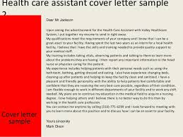 Patient Care Assistant Cover Letter Health Care Assistant Cover Letter