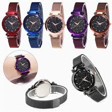 Fashion <b>Starry Sky Watch Waterproof</b> Magnet Strap Buckle Stainless ...