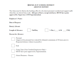 Application For Leave Form Delectable Drexel RIV School District Sick Leave Form