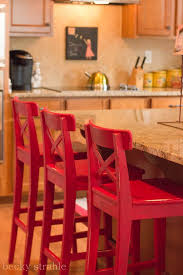 red bar stools. Ikea Stools Painted With DIY Chalk Paint Red On Top. Black Or Some Other Color Bottom Bar