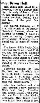 Edith (Busby) Holt obituary - Newspapers.com