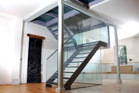 steel glass staircase u shaped with glass railing 4