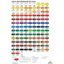 Par Paint Colour Chart Royal Talens Rembrandt Oil Paint Printed Color Chart In