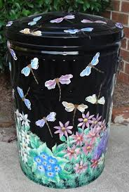 Exterior Garbage Cans Set Painting Awesome Decorating Design