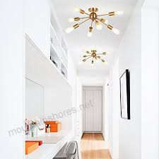 melucee 8 light modern sputnik chandelier brushed brass semi flush mount ceiling light industrial pendant
