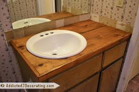 diy bathroom countertop made from wood fence pickets