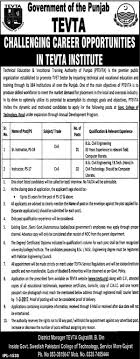 tevta jobs feb technical education and vocational training official advertisement for tevta jobs feb 2017 technical education and vocational training authority jobs for sr instructor instructors