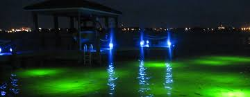 underwater green dock lights