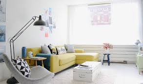 blue couches living rooms minimalist. Minimalist Clean Design With Yellow Sofa Blue Couches Living Rooms