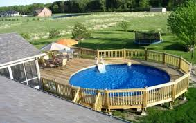 above ground swimming pool ideas. Above Ground Pool Designs With Wood Railing And Table Sets Swimming Ideas