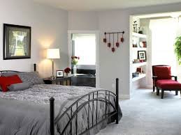 furniture modern bedroom design with white wall interior color decor gray carpet tiles and black iron charming bedroom ideas red