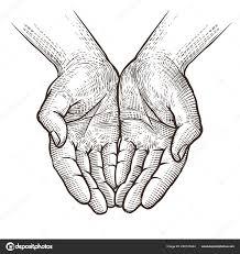 чашевидный руки сложа руки эскиз винтажные векторные иллюстрации