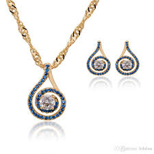 2019 202s mgfam blue stone jewelry set earrings pendant necklace women 18k yellow gold plated lucky round good quality from bibilau 5 83 dhgate com