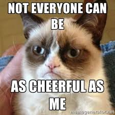 Not everyone can be As cheerful as me - Grumpy Cat | Meme Generator via Relatably.com