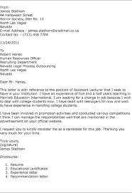 Covering Letter For Job Application The Post Of Lecturer