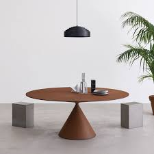 the clay table where the pleasant combination of geometric volumes creates an essential yet special here it is inoval version with elliptical