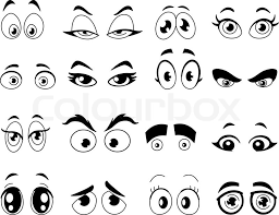 Small Picture Outlined cartoon eyes set Stock Vector Colourbox