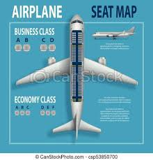 Banner Poster Flyer With Airplane Seats Plan Business And Economy Classes Top View Aircraft Information Map Realistic Passenger Aircraft Indoor
