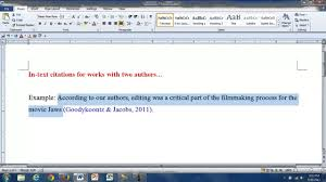 In Text Citations For Works With Two Authors Youtube