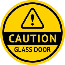 symbol caution glass door sticker