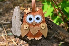 felt owl toy on a branch felt soft bird toy outdoor kids crafts
