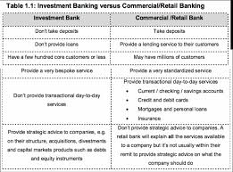 retail banker what is the difference between investment banking and commercial