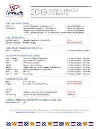 Sundays Only Calendar 2019 Regatta Calendar Norwalk Yacht Club