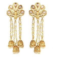 spargz festive brass gold plated peacock indian matte finish chandelier earring with jhumka drops aier