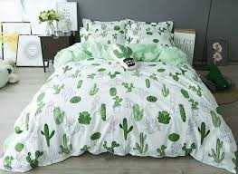 73 cactus printed cotton casual style white duvet covers bedding sets