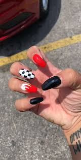 Black And White Nail Designs Acrylic Nails Nails Nail Designs Design Red Black White Fire Checker