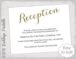wedding reception card wedding reception invitation template diy gold etsy