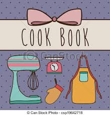 cook book design over purple background