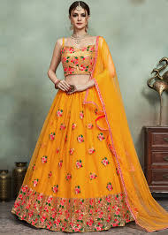 Lehenga Design In Yellow Colour Yellow Floral Embroidered Net Lehenga Choli