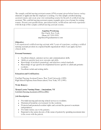Cna Sample Resume Moa Format